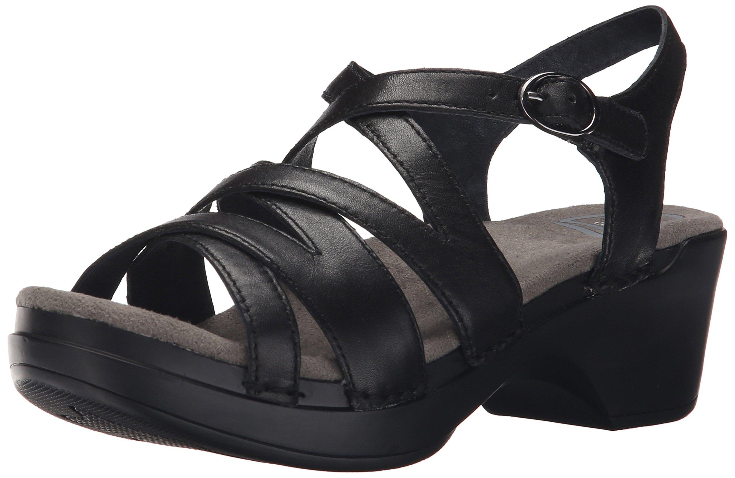 Dansko Women's Stevie Wedge Sandal, Black Full Grain, 36 EU/5.5-6 M US