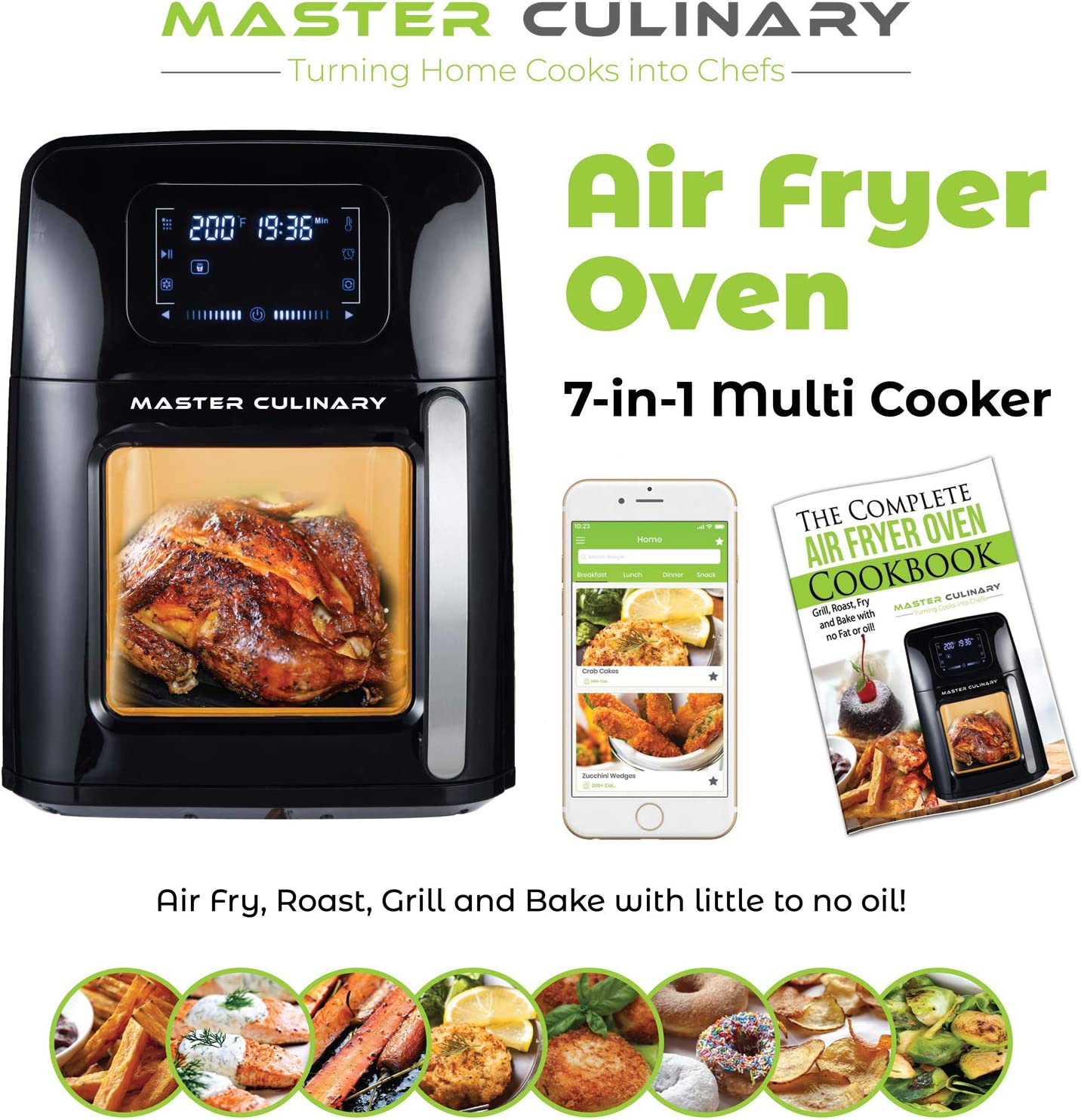 Air Fryer Oven A-1700   12 Quarts - Biggest in the Market!   7 in 1 Cooker   Mobile App and Recipe Book Included   Super-Heated Air Technology   Modern Design, Very Quiet, 12 Preset Programs, 1700W, Extended One Year Warranty   2020 Model   By TheMasterCulinary