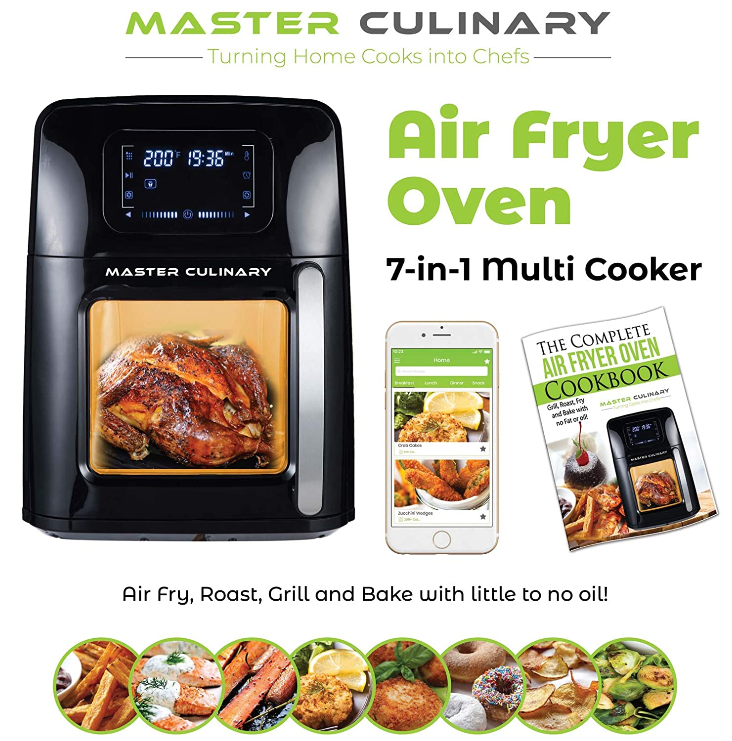 Master Culinary Air Fryer Oven 12 QT XL Family Size 7 in 1 Multi Cooker FDA Approved Free Mobile App and Recipe Book Included Rapid Air Technology Ultra Quiet 2019 Model