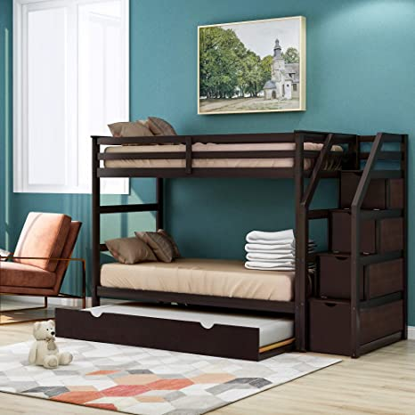 Amazon Com Trundle Bunk Beds Rockjame Solid Wood Twin Over Twin Bunk Bed With Stairs Storage And Safety Guard Rail For Boys Girls Kids Teens And Adults Espresso Kitchen Dining