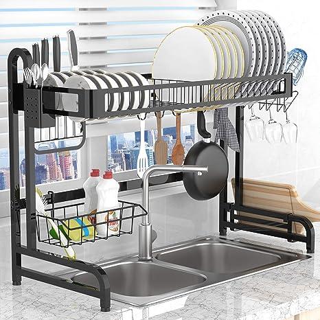 Escurridor de platos organizador de estantes platos fregadero estante de almacenamiento de cocina de acero inoxidable