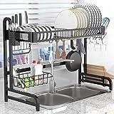 Dish Drying Rack Over the Sink,LeaderPro Premium 304 Stainless Steel Dish Drainer Shelf,Kitchen Supplies Storage…