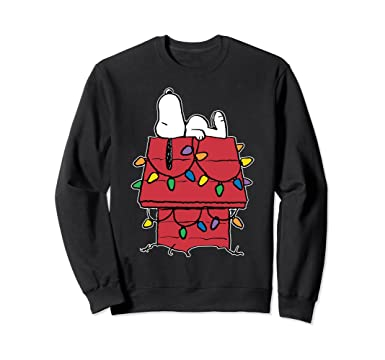 225ba88a3 Image Unavailable. Image not available for. Color: Unisex Peanuts Snoopy  Christmas Lights Sweatshirt 2XL Black