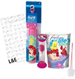 "The Little Mermiad ""Ariel"" 3pc Bright Smile Oral Hygiene Set! Turbo Powered Toothbrush, Brushing Timer & Mouthwash Rinse Cup! Plus Bonus ""Remember To Brush"" Visual Aid & Gift Bag!!"