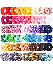 WATINC 60Pcs Silk Satin Hair Scrunchies Set for Women Strong Elastic Hair Bobbles for Ponytail Holder Colorful Hair Accessories Ropes Scrunchy Solid Color Traceless Hair Ties