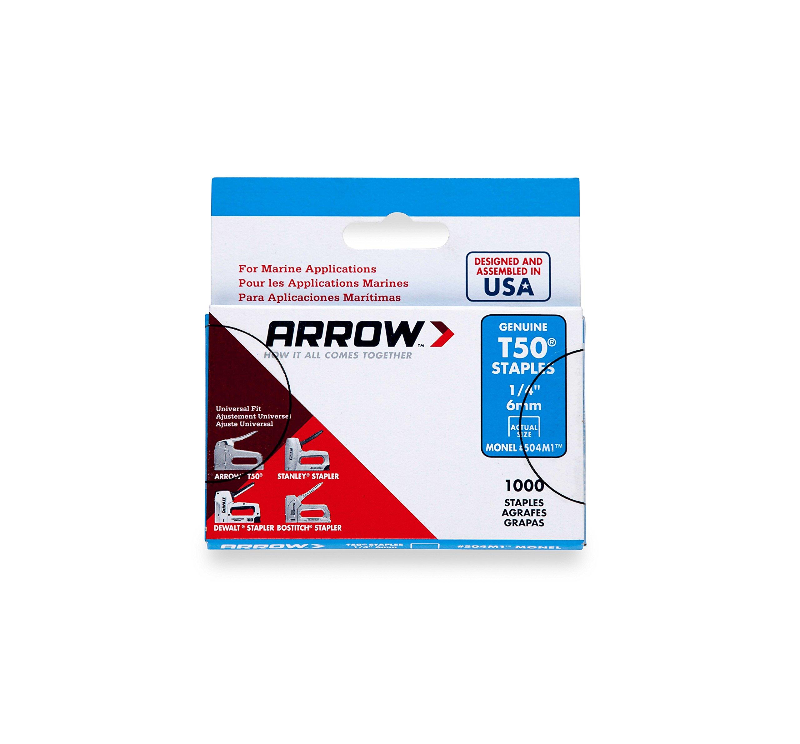 Arrow Fastener 504M1 Genuine T50 1/4-Inch Monel Rust Proof Staples, 1,000-Pack by Arrow Fastener
