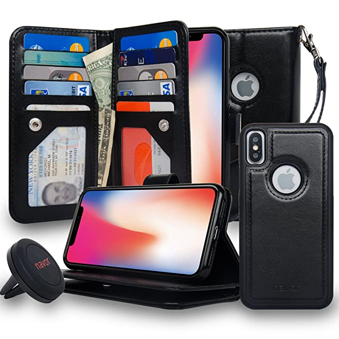 2ba0703612a2 navor Magnetic Detachable Wallet Case and Universal car Mount [RFID  Protection][10 Card Slots] [3 Money Pocket] Compatible for iPhone Xs/X-5.8  Inch ...