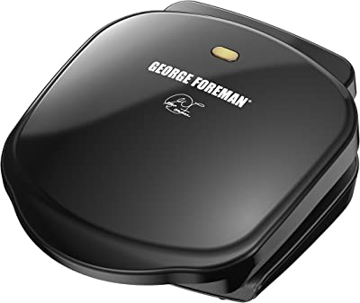 George-Foreman-2-Serving-Classic-Plate-Electric-Indoor-Grill-and-Panini Press,-Black
