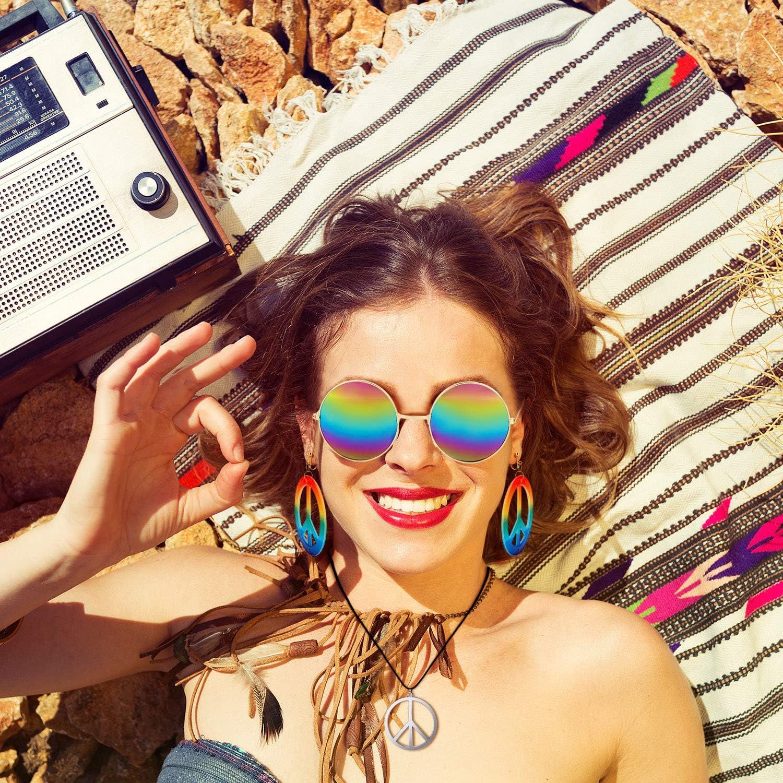Colore 1 meekoo Set di Accessori per La Fascia Hippie degli Anni 60 e 70 Occhiali Stile Hippie per Festa a Tema o Halloween Includere Orecchini con Segno di Pace e Collane