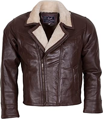 NEW Mens Real Leather Classic Bomber Style Gents Blouson Zip up Coat Brown S-4XL