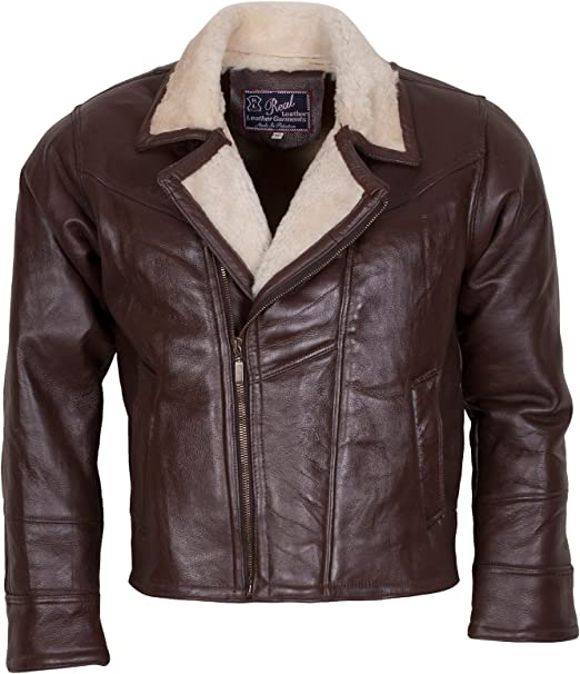 Aviation Style Vintage Bomber Jacket in Dark Brown for Men