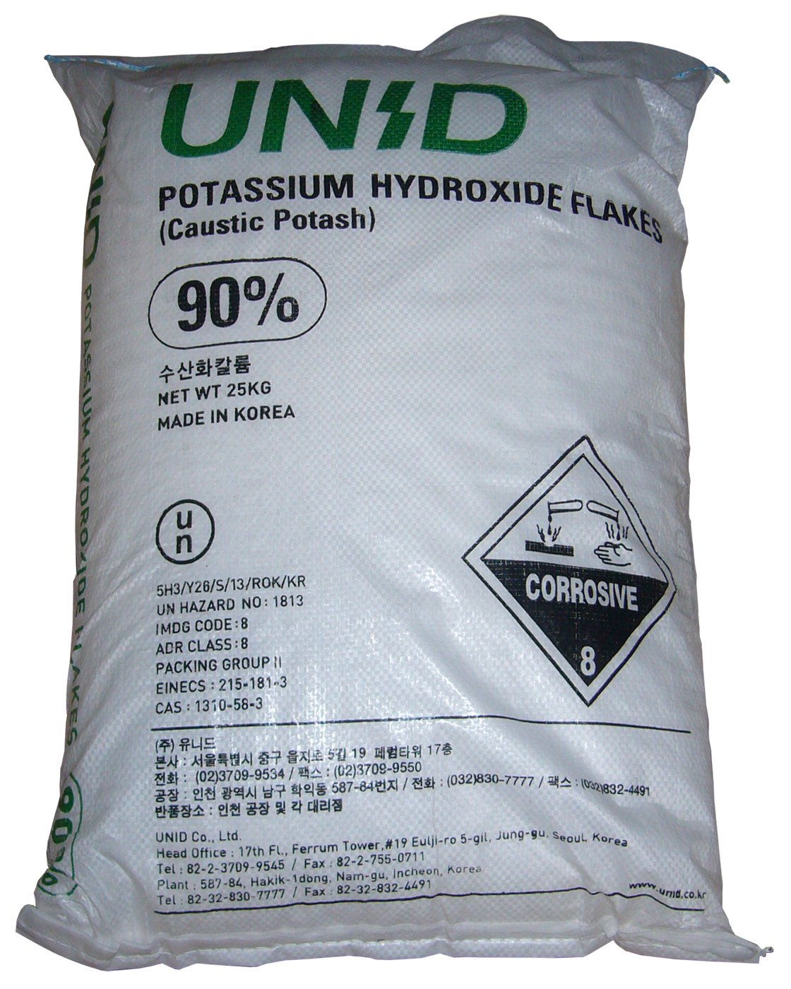 Potassium Hydroxide (Caustic Potash) [KOH] [CAS_1310-58-3] 90+% FCC/ Food Grade, White Flake (55.12 Lbs Bag) sold by Wintersun Chemical by UNID (Image #1)