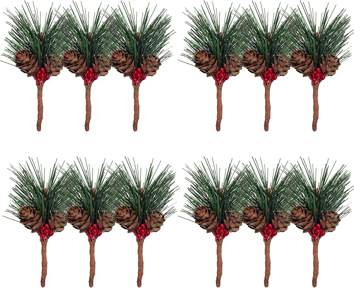Felice Arts 12 pcs Artificial Pine Picks for Christmas, Mixed Small Fake Pine Needles Red Berries and Pinecones Simulated Plastic Bouquet for Christmas Decor Gift Wrappings Greenery Garland