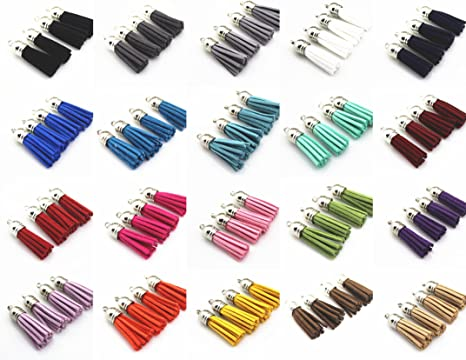 2 Pcs 40mm Suede Velvet Tassel For Keychain Cellphone Straps Jewelry Charms