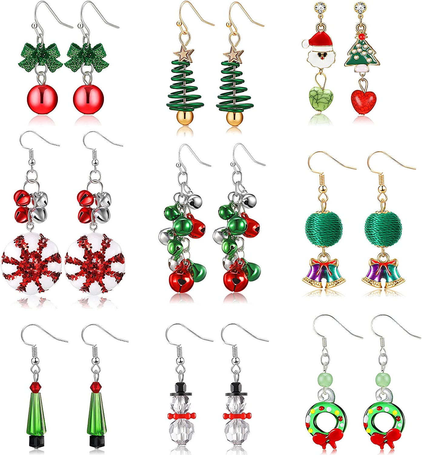 red hair top hat poinsettia french hook dangle drop carrot nose holiday mid century Snowman earrings enamel snowman sparkle scarf