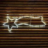 Stella cometa 120 cm in tubo luminoso, 126 led bianco freddo, effetto flashing, stella di Natale, decorazioni luminose, stella cometa luminosa