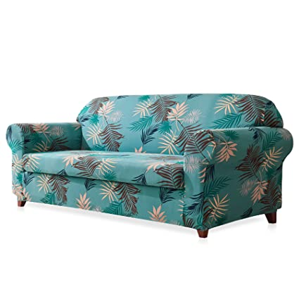 Etonnant Subrtex 2 Piece Leaves Printed Stretch Sofa Slipcovers (Loveseat, Aqua  Printed)