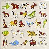 Skillofun Wooden Animal Alphabet Tray with Knobs, Multi Color