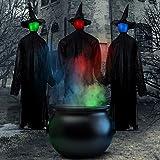 FiGoal - 3 piezas de decoración de Halloween con manos de bruja con sensor activado por sonido, con estacas de tamaño natural