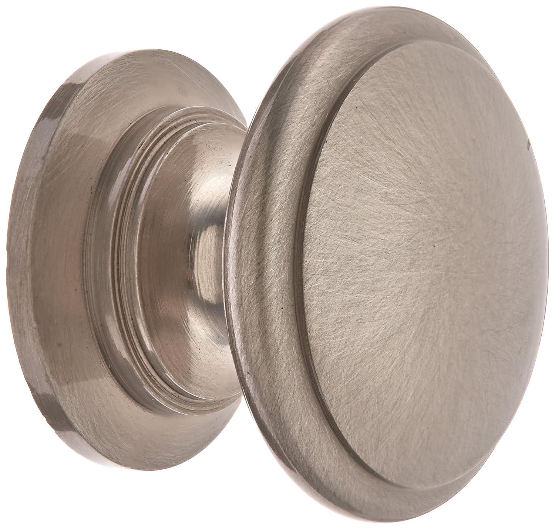 Amerock Cabinet Knob 1-1//4 Dia Solid Brass Satin Nickel Finish