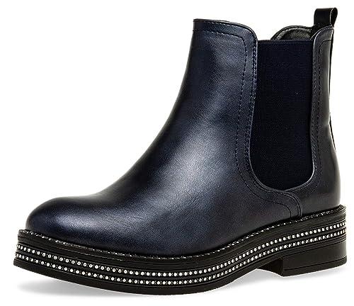 Caspar SB092 Botines Chelsea para Mujer con Estrás Brillante: Amazon.es: Zapatos y complementos