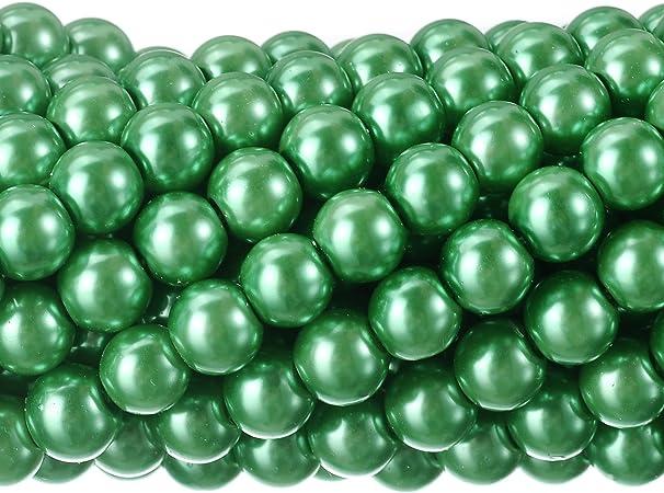 Pearl 6mm Dark Green Round Glass 7 Stretch Bracelet
