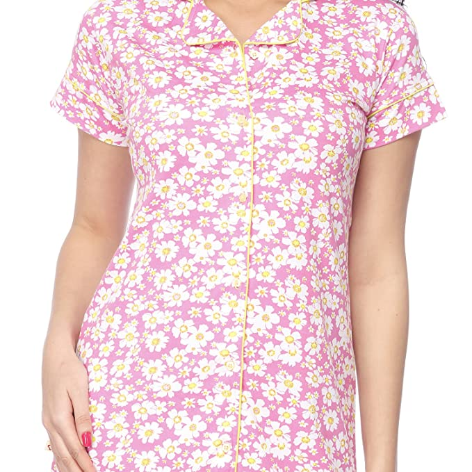 50af0b61a6 VIXENWRAP Cute Pink Floral Print Sleep Shirt  Amazon.in  Clothing    Accessories