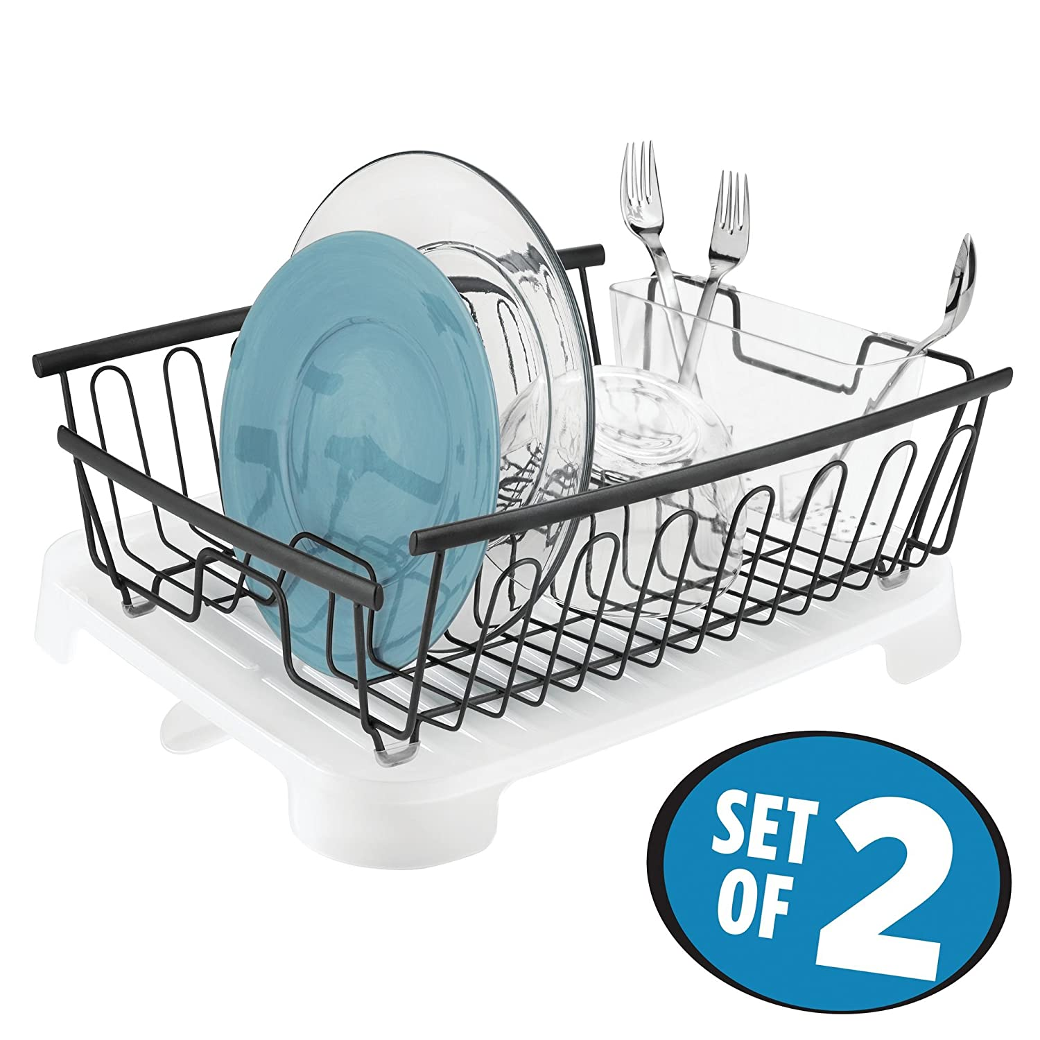 Amazon.com: mDesign Large Kitchen Countertop, Sink Dish Drying Rack ...