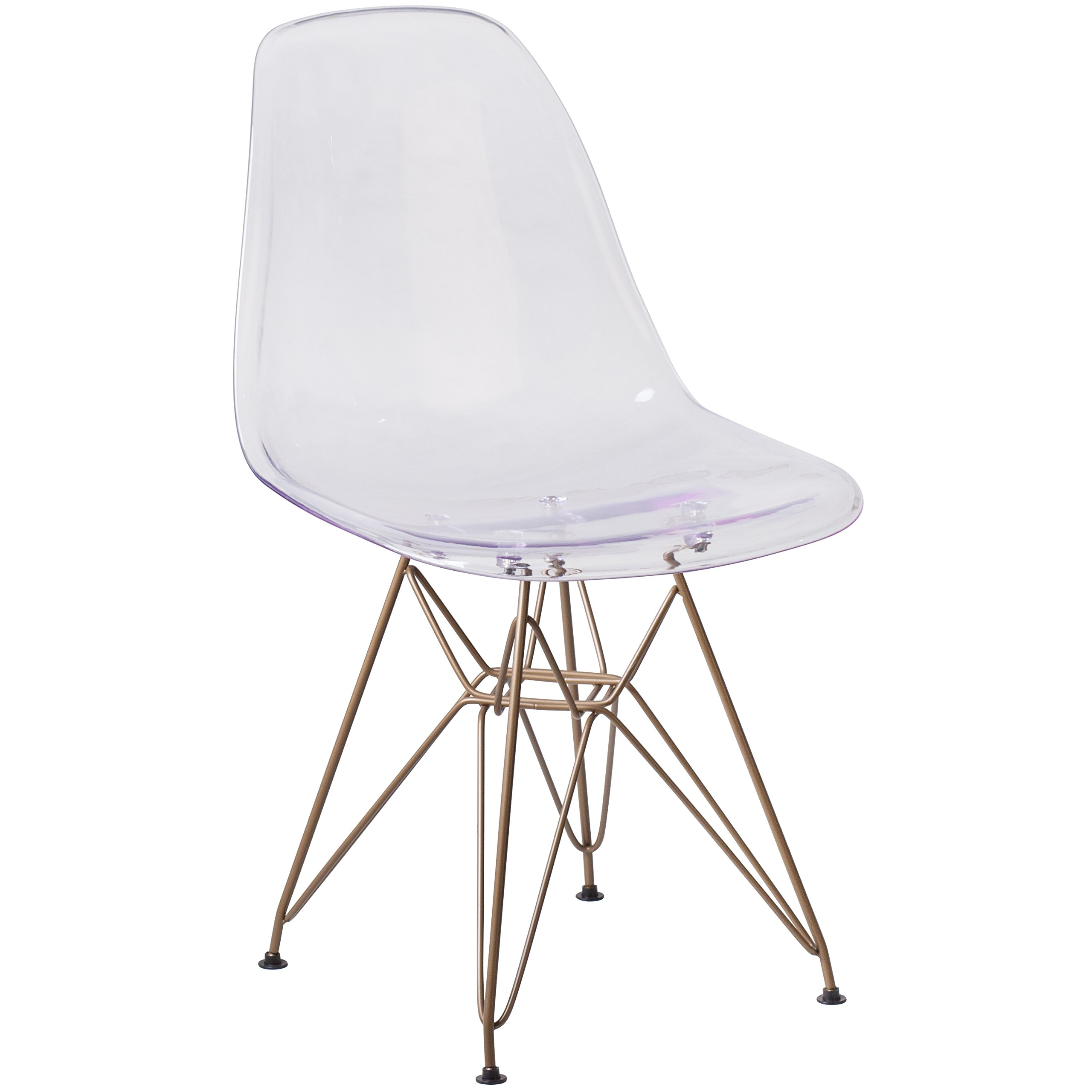 Flash Furniture Elon Series Ghost Chair with Gold Metal Base by Flash Furniture
