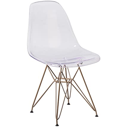 Flash Furniture Elon Series Ghost Chair With Gold Metal Base