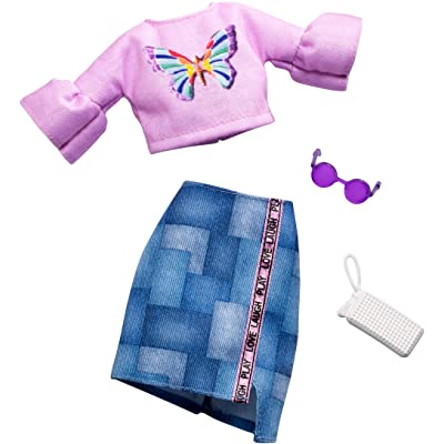 Barbie Complete Looks Doll Clothes, Outfit for Barbie Dolls with Pink Butterfly Top, Denim Skirt and 2 Accessories, Gift for 3 to 7 Year Olds: Toys & Games