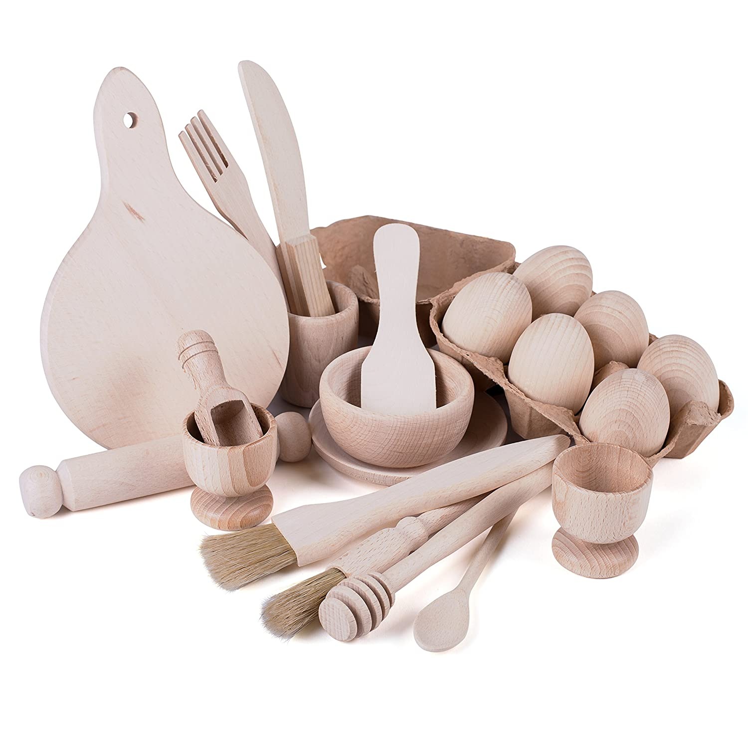 Complete Wooden Kitchen Play Set - Children's Cooking Utensils and Accessories - 20 pieces - EYFS - Treasure Basket TreasureToys WK20