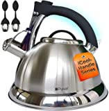 Whistling Tea Kettle with iCool - Handle, Surgical Stainless Steel Teapot for ALL Stovetops, 2 FREE Infusers Included, 3…
