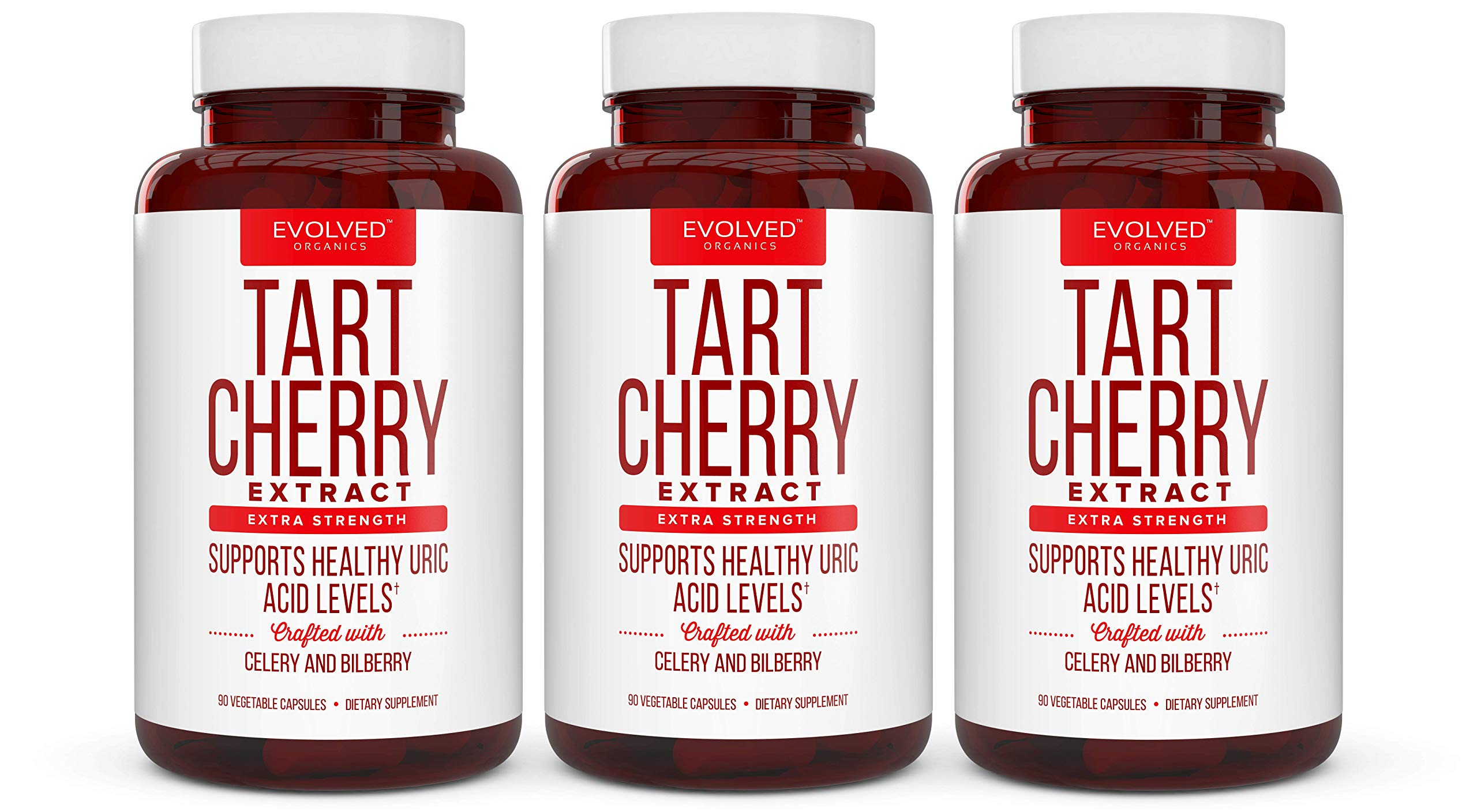 Premium Tart Cherry Extract Plus Celery Seed and Bilberry Extract - Anti Inflammatory, Antioxidant Supplement for Uric Acid, Muscle Pain and Joint Pain - 90 Tart Cherry Capsules​ (3 Pack)