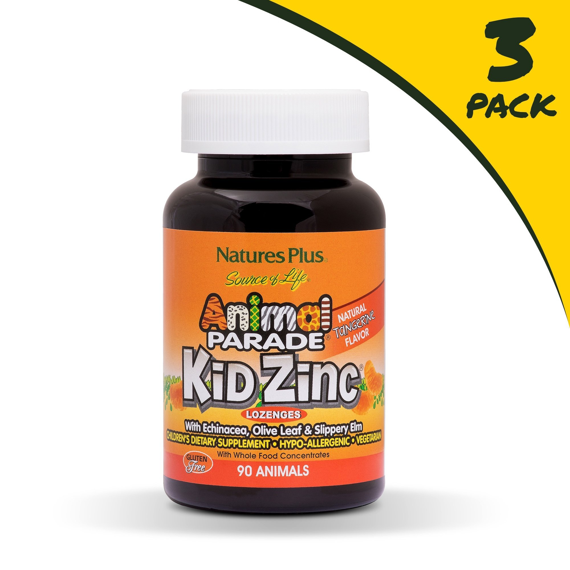 NaturesPlus Animal Parade Source of Life KidZinc Lozenges (3 Pack) - Tangerine Flavor - 90 Animal Shaped Tablets - Immune Support Supplement - Vegetarian, Gluten-Free - 270 Total Servings