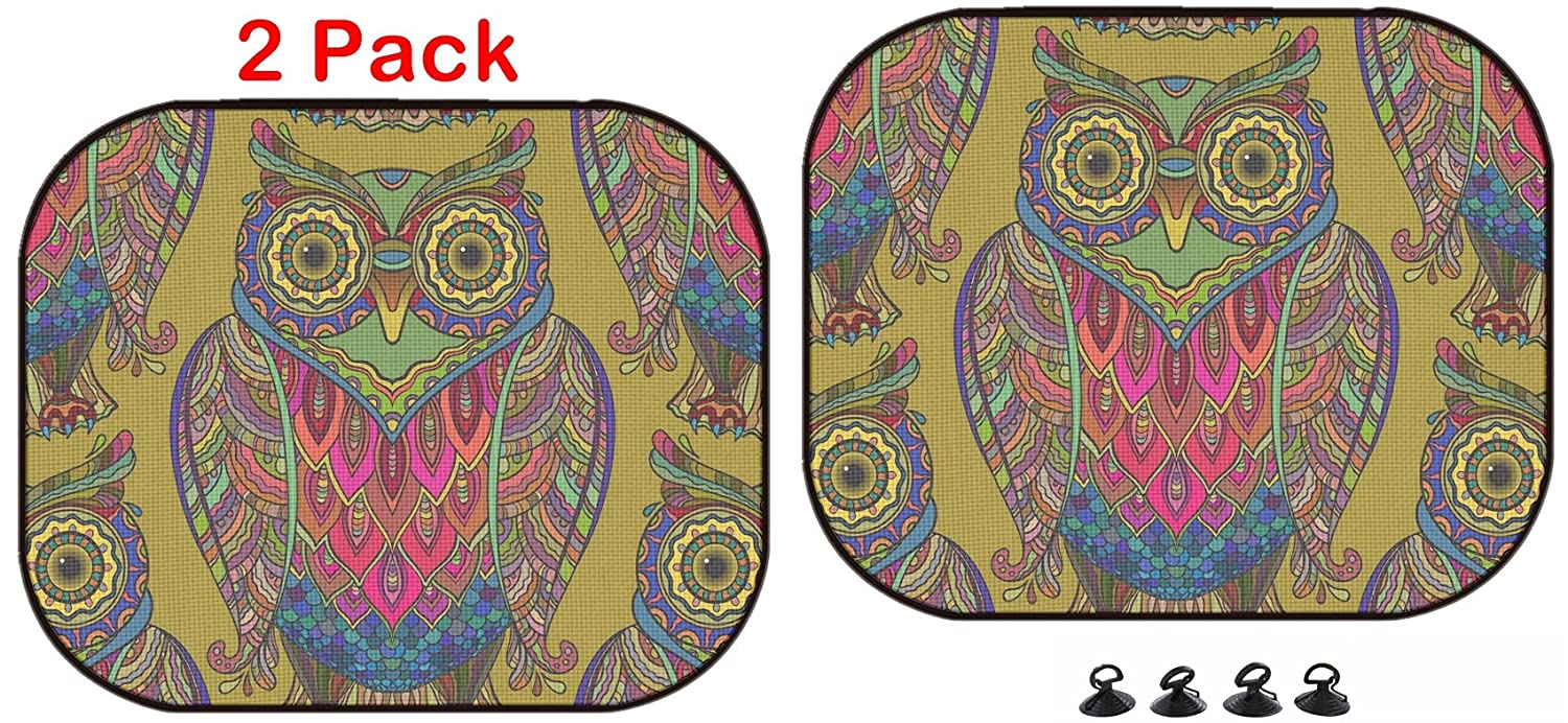 44638421 Seamless Pattern with a lot of Beautiful Decorative Owls The Patter 2 Pack ID Luxlady Car Sun Shade Protector Block Damaging UV Rays Sunlight Heat for All Vehicles