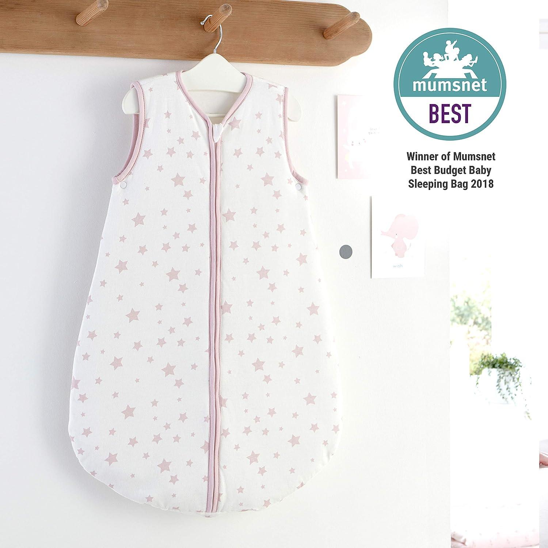 Silentnight Safe Nights 2.5 Tog Baby Sleep Bag, 0-6 Months, Pink Stars e-bedding 482943GE