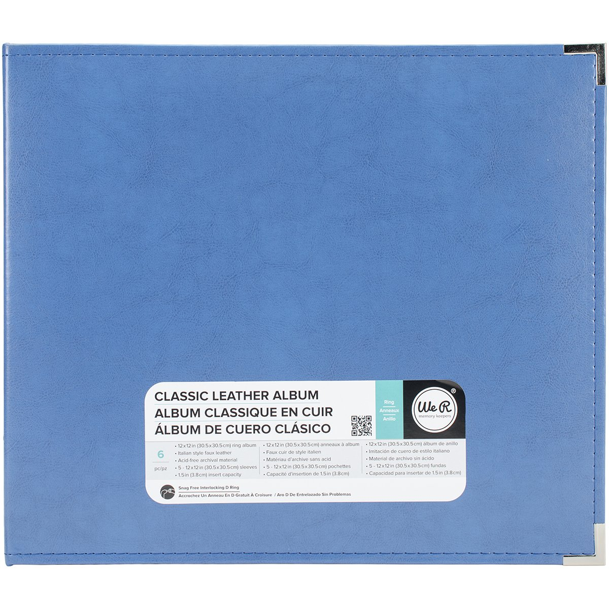 American Crafts 660914 We R Memory Keepers Classic D-Ring Scrapbooking Album, 12'' x 12'', Country Blue