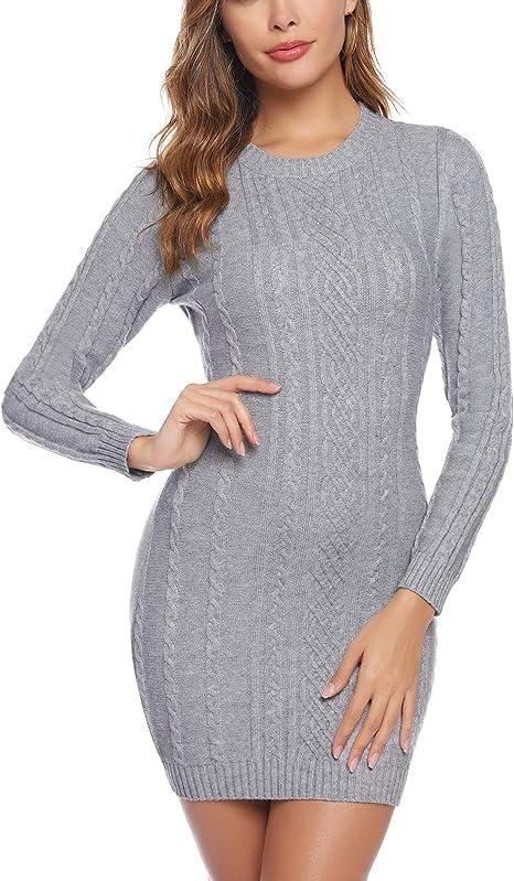 Kleid Damenkleid Winter//Frühling  Kleid Tunika mit Rollkragenpullover