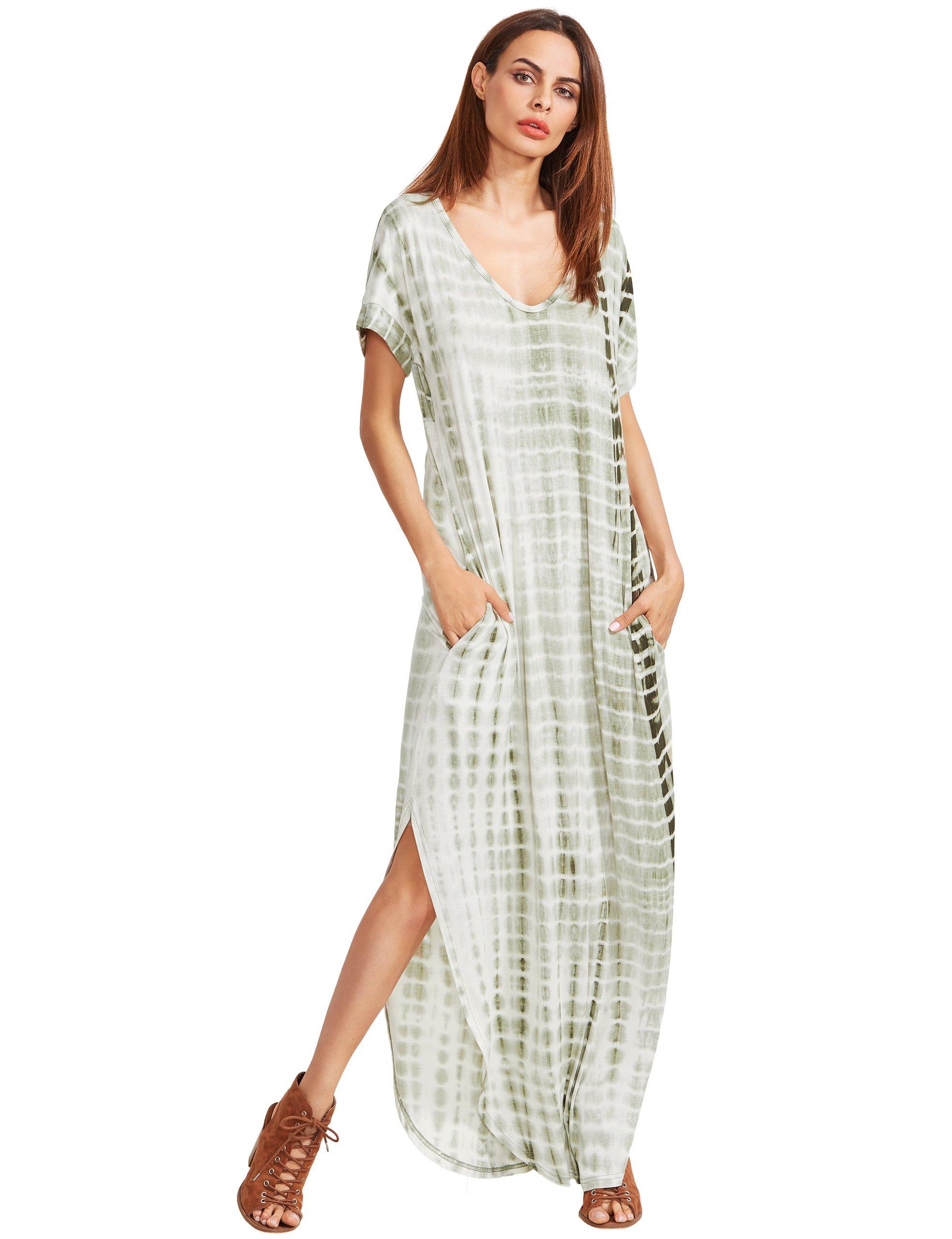 fa1b9db32fc MAKEMECHIC Casual Maxi Short Sleeve Split Tie Dye Long Dress Green S ...