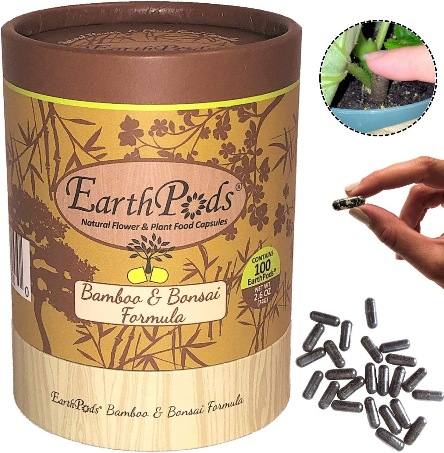EarthPods Premium Bamboo + Bonsai Plant Food – Easy Organic Fertilizer Spikes – 100 Capsules – Enhance Color, Root + Foliar Growth (Great On All Bonsai Tree & Bamboo Plant Types, No Urea, Ecofriendly)