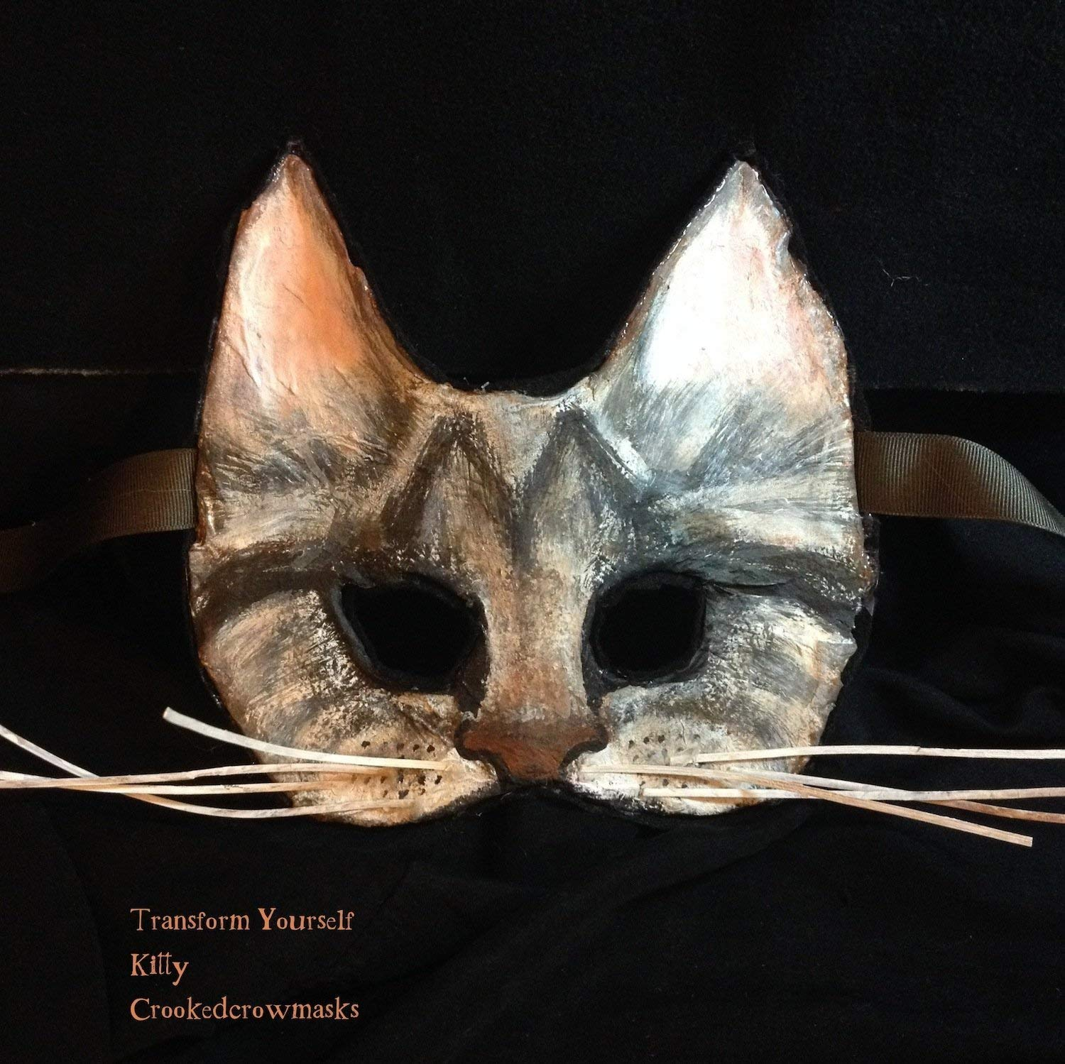 cat mask, paper mache kitty mask, for costume party, masquerade ball, photo shoot, Halloween, and other fun times.