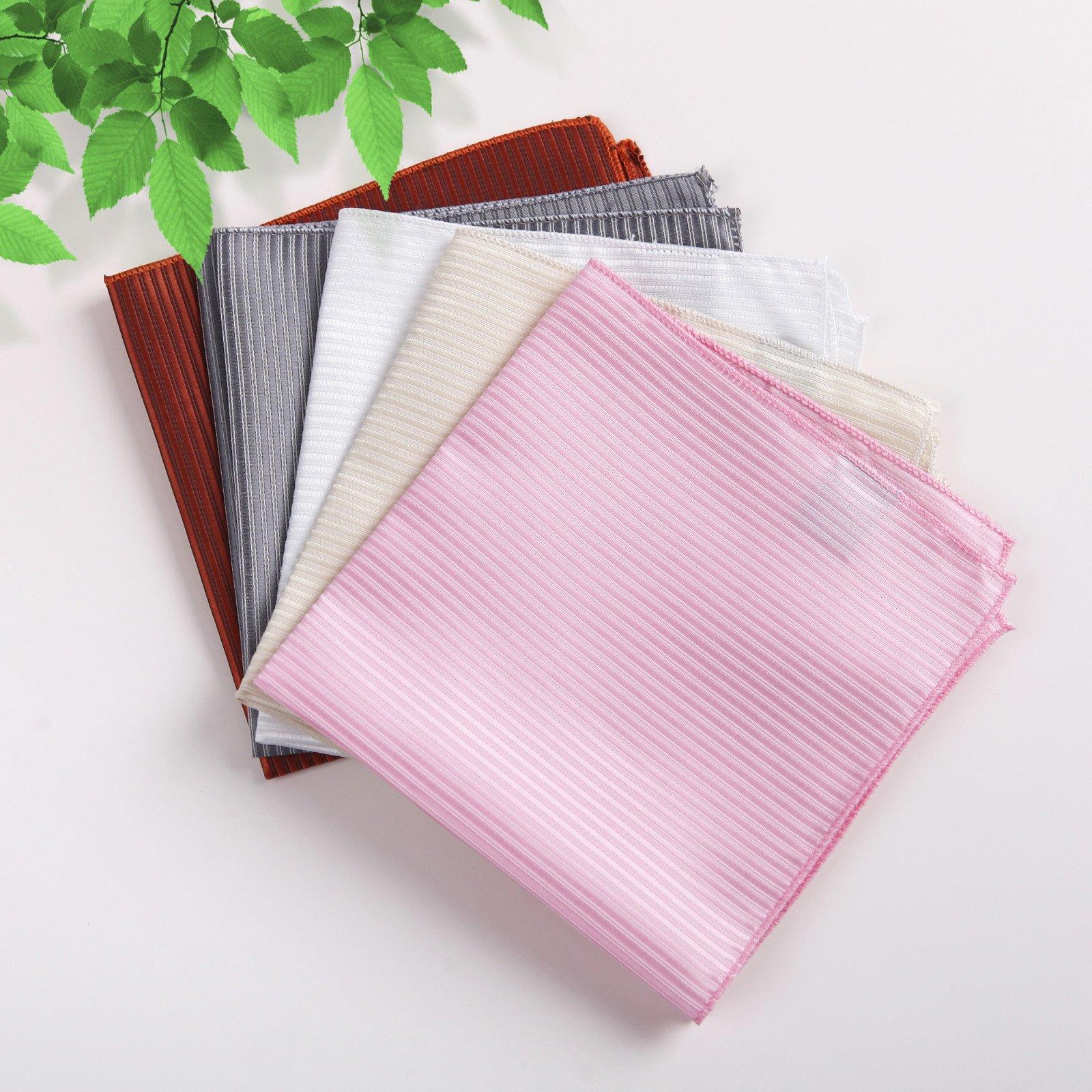 DEIA0004 Designer Stripes Microfiber Birthday Gifts for Mens Hanky Set 5 Hankerchiefs Set-Pink, Dark Orange, Grey, Beige, White By Dan Smith by Dan Smith (Image #2)