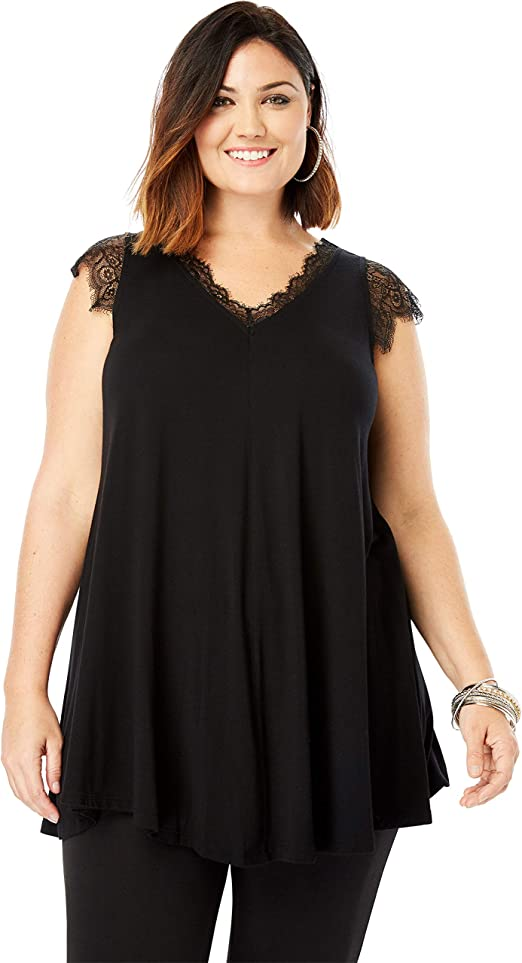 Yours Clothing Women/'s Plus Size Black Layered Crochet Top