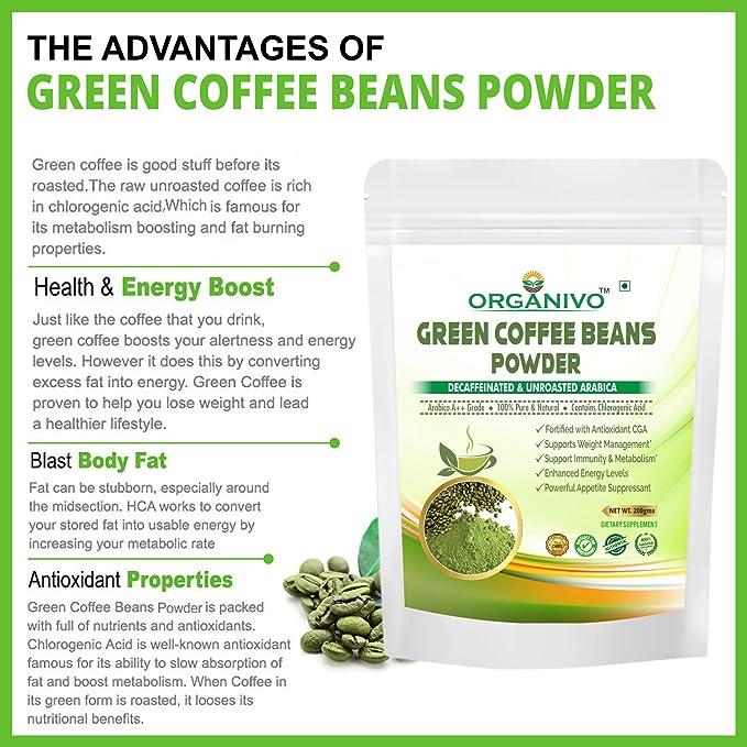 Organivo Pure Natural Arabica Green Coffee Beans Powder For