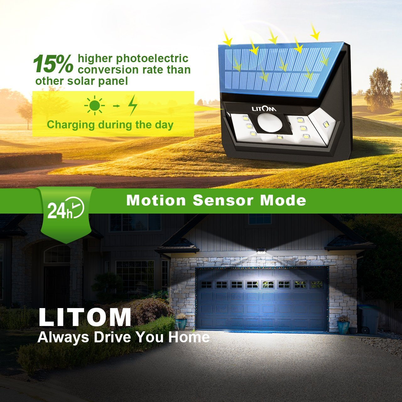 LITOM Solar Lights Outdoor, Wireless LED Solar Motion Sensor Lights with Wide Angle, IP65 Waterproof Security Lights for Front Door Yard Garage Deck Porch Shed Walkway Fence (4 Pack) by Litom (Image #5)