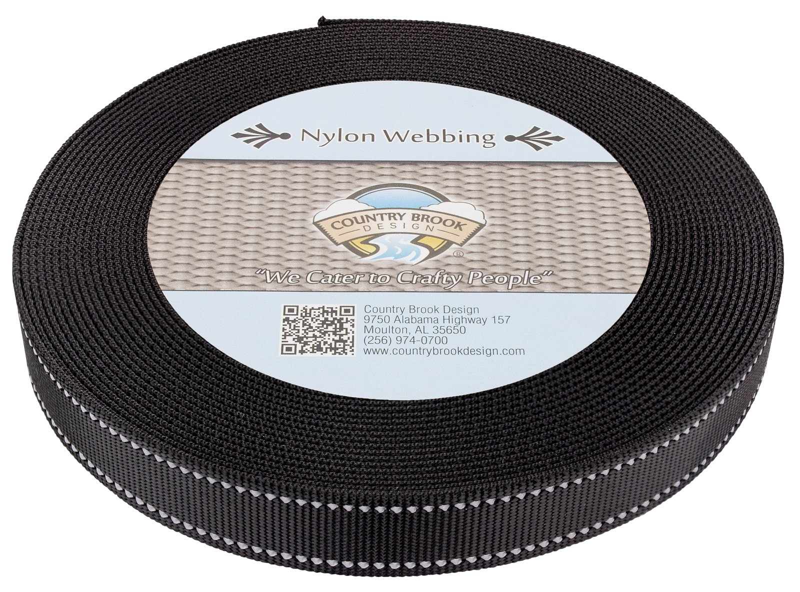 Country Brook Design | 1 Inch Black Reflective Nylon Webbing, 50 Yards