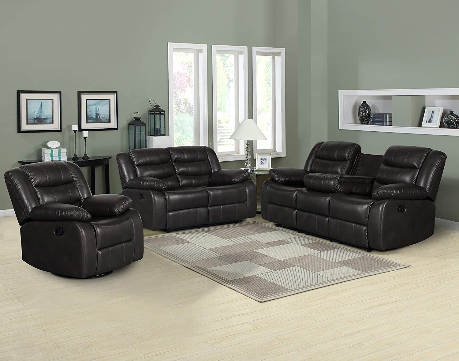 Container Furniture Direct Adeline Mid Century Modern Leatherette Living Room Reclining Chair 35.25 Dark Grey