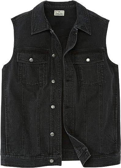 Mens Black Regular Fit Denim Jacket Sizes S To 5XL Big Tall
