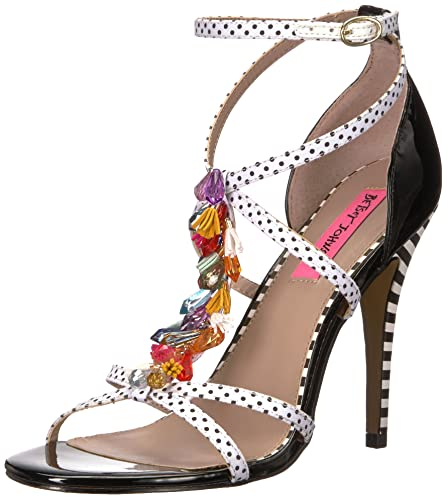 Clarice Polka Dot Tassel and Rhinestone Strappy Dress Sandals RzTizJr